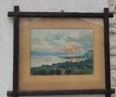 Faragott fa keretes Balaton tàjkép,festmény.Balaton kedvelőinek,szerelmeseinek, is ajánlom!