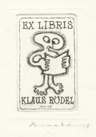 Jörgen Brockdorff-Nielsen: Ex libris- rézkarc : Olvasó ember  40mm x 55mm  Reprodukálva: Klaus Rödel