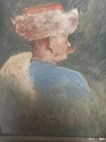 Márk Lajos Nemes bajszos portré kucsmában antik festmény