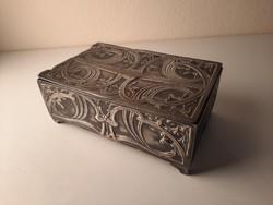 Szecessziós ón fabetétes szivartartó doboz