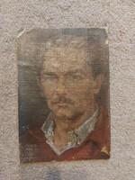 Szignós portré, olaj, kasírozott vászon, méret jelezve!