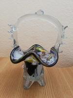 Muranoi jellegű üveg kosár, asztalközép