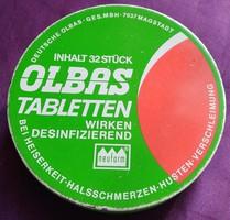 Régi Olbas tablettás fémdoboz - átmérő 75 mm.