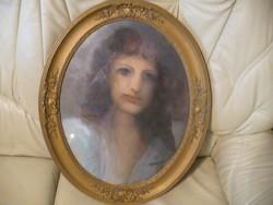 Olajfestmény szép ovális keretben (női portré)