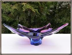 Káprázatos Muranoi kézműves vastagfalú lila üveg dísztál