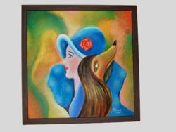 Kettős portré / art deco styl / akril festmény