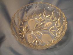 N4 Csiszolt üveg kínáló tál hibátlanul 7 cm magas