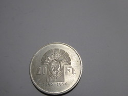 Tízéves a Forint 1956 sorozat, 20 Forint, 1956-os kiadás / 10 éves évforduló/ ezüst érme