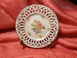 Virágmintás porcelán dísz tányér, gyűrűs tányér