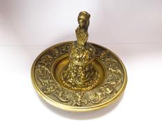 Különleges,figurális bronz kézi csengő tálkával!