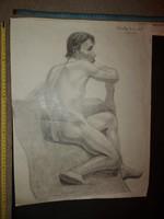 Borda János akt grafika, ceruzarajz, 1932-33, korának elismert ötvösművésze, ezüstművese