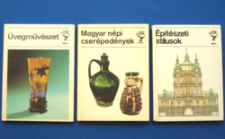 3 db KOLIBRI könyv: Üvegművészet, Magyar népi cserépedények, Építési stílusok