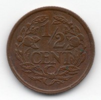 Hollandia 1/2 holland cent, 1937, szép