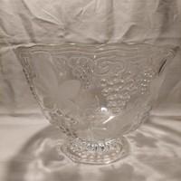 Szőlő mintás nagy üveg asztalközép gyümölcstál