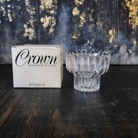 Svéd Lindshammar Crown kristályüveg mécsestartó, gyertyatartó - eredeti dobozában