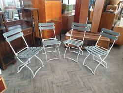 Régi vintage 4 db összecsukható vas kovácsoltvas kerti szék garnitúra vasvázas