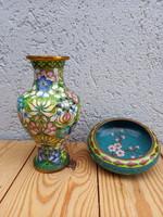 Kínai antik rekeszzománc váza+ tál 1940-70