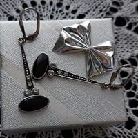 Antik ezüst, 925 ös,  jelzett fülbevaló, fekete onix kővel, pompás, elegáns darab