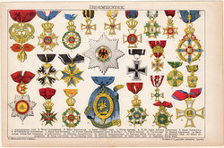 Érdemrendek, litográfia 1892, színes nyomat, magyar nyelvű, koronarend, érdemrend, becsületrend