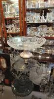 ART DECO ezüst asztalközép kézzel csiszolt kristály. Ritka!