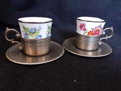 Porcelán kávés gyönyörű ón aljjal, Bavaria, jelzett