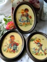 Gottschlich viasz fali kép 3 db egyben, gyermekek mese figurákkal