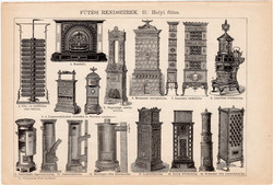 Fűtési rendszerek I. és II. (1), egyszínű nyomat 1892, magyar, Athenaeum, központi, kályha, kandalló