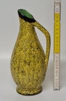 Sárga repesztett mázas, füles iparművészeti kerámia váza (1649)
