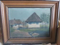 KATONA GYULA: Nádtetős házak, 1918 (olajfestmény 29x40+ keret) falu, vidéki tájkép, természeti idill