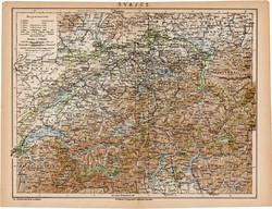 Svájc (Svájcz) térkép 1892, eredeti, régi, Athenaeum, Brockhaus, magyar nyelvű, Európa, 24 x 31 cm