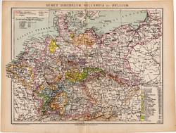 Német birodalom, Hollandia és Belgium térkép 1892, eredeti, régi, Athenaeum, magyar, 24 x 31 cm