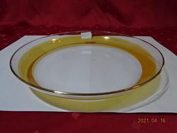 Üveg süteményes tál és tányér, festett csíkkal a szélén.