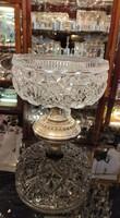 ART DECO  stílus ezüst asztalközép kézzel csiszolt kristály. Ritka!