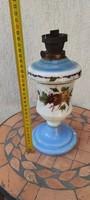 Antik üveg làmpa, petróleum,olaj lámpa kézi festett gyönyörű,gyüjtemény, dekorációnak