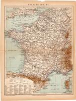 Franciaország térkép 1892, eredeti, régi, Athenaeum, Brockhaus, magyar, XIX. század, 24 x 31 cm