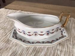 M.C. Czechoslovakia rózsa mintázatú porcelán mártásos tálka (+ alj)