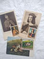 3 db vintage művészlap/művészeti képeslap bélyegekkel, festmény, Szinyei, Tiziano, Rafaello