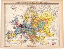Európa népességének sűrűsége térkép 1892, eredeti, régi, Athenaeum, Brockhaus, magyar, 24 x 31 cm