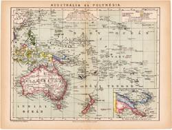 Ausztrália és Polynésia térkép 1892, eredeti, régi, Athenaeum, Brockhaus, XIX. század, 24 x 31 cm