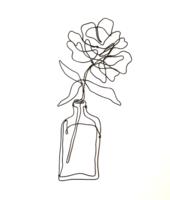 Virág vázában - drótból készült fali dekoráció / Letisztult csendélet / Harmónia /Rózsaszál