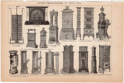 Fűtési rendszerek I. és II. (2), egyszínű nyomat 1892, magyar, Athenaeum, központi, kályha, kandalló