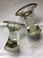 Súlyos, üveg tömb gyertyatartók párban