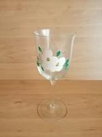 Régi virág mintás festett talpas üveg pohár 17,5 cm  (z-2)