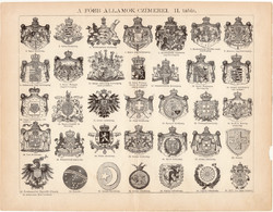 A főbb államok címerei (2), egyszínű nyomat 1892, magyar nyelvű, Athenaeum, címer, állam, spanyol