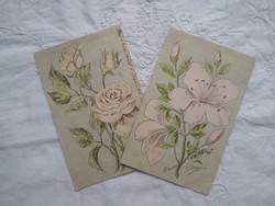 2 db antik szecessziós litho/litográfiás, virágos-rózsás képeslap pasztell színekben 1903