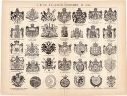 A főbb államok címerei, egyszínű nyomat 1892 (1), magyar nyelvű, Athenaeum, címer, állam, spanyol