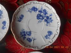 Zsolnay kék rózsa mintás kávés kistányérok