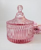 Öntött üveg rózsaszín bonbonier