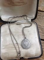 Antik Ferenc József 1/4 Florin 1859 ezüst érme medál nyaklánccal