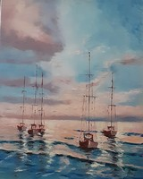 Antyipina Galina: Hajnal a tengeren, olajfestmény, vászon, 40x50cm